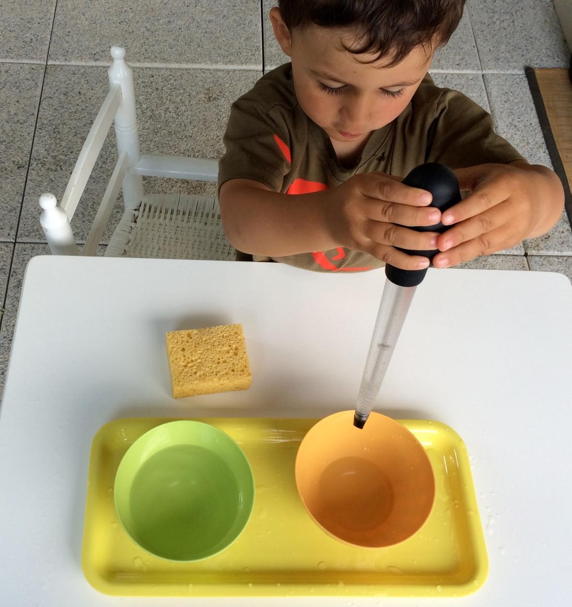 L'Activité Montessori du Jour : transvaser de l'eau - la poire à sauce